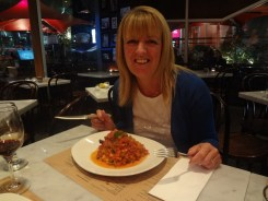 Gail with her dinner