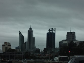 Perth CBD from the freeway.
