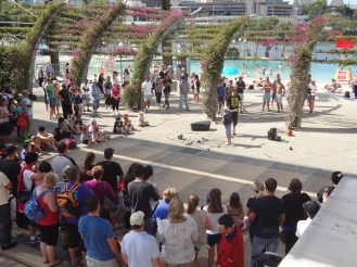 Street performer in action on the Southbank