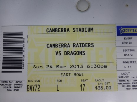 My ticket for the match.