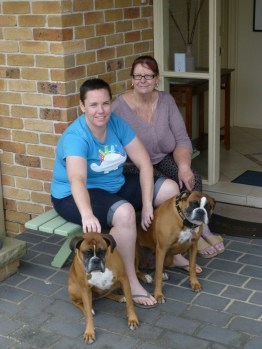 Lauran and Barbara with Lucky and Roxy