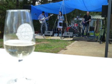 A glass of bubbly with the band in the background.