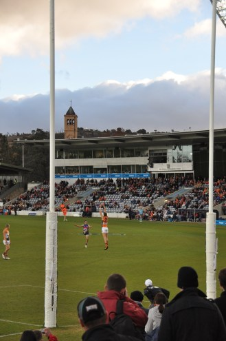 An attempt on goal by the Giants.