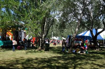 Woden festival site through the trees.