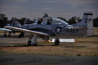 Finally the last of the T-28 Trojans moves off