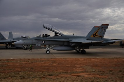 The F18 Hornet taxis in after its display.