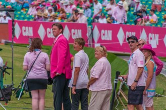 Glenn McGrath and his family come out to greet the crowd