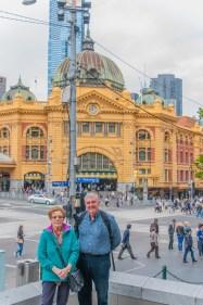 Posing in front of Flinders Street train Station
