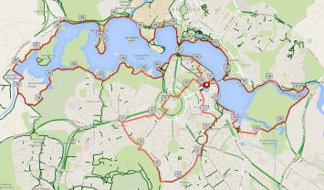 The 42.2km route we took today.