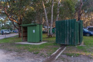 The pit toilet and COLD shower