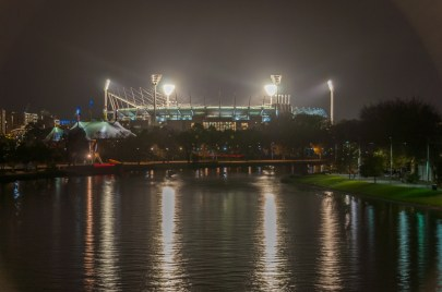 The MCG rasies from the shores of the Yarra River