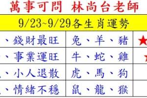 【12生肖運勢】萬事可問 林尚台老師_9/23~9/29