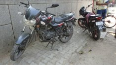 Common Motorbikes used in India. Location: Dilli Hut, New Delhi.