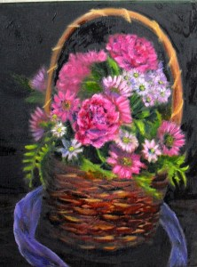 Picture of a bouquet of pink flowers in a woven basket, painted by YeshuasChildARt studio