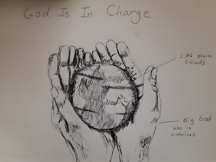 drawing of God holding the world lovingly in His hands