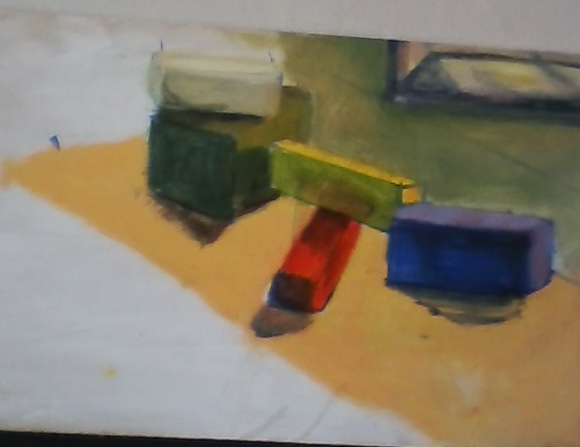 sunny day block study painting by Yeshuas child art
