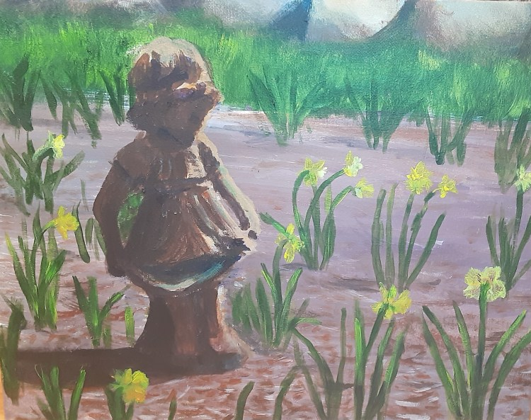 plein aire acrylic painting of a garden statue in a daffodil garden bed