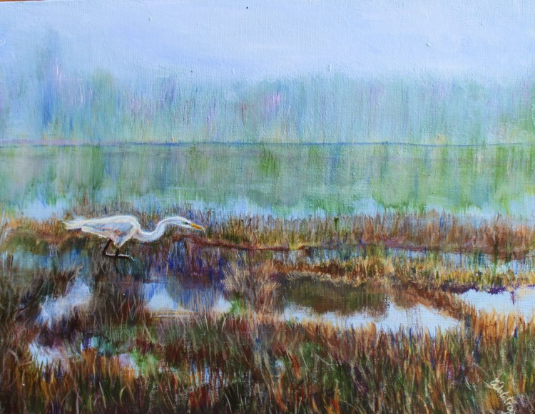 acrylic painting of a great white egret in Michigan wetlands by Yeshuas Child Art