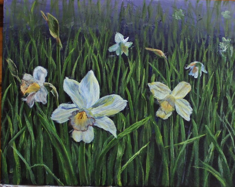 painting of white daffodils by Yeshuas Child Art