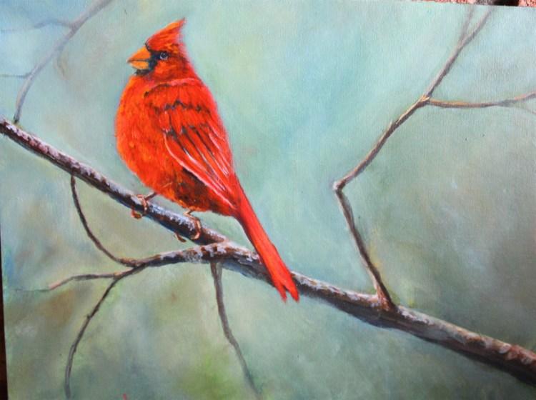 Male cardinal acrylic painting by Yeshuas Child Art