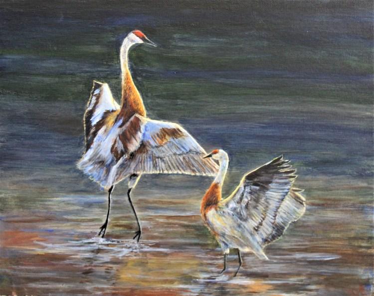 Bird print sandhill cranes