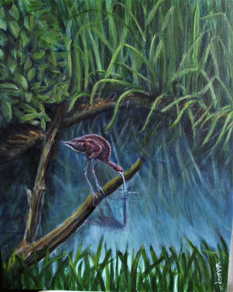 acrylic painting of a white-faced ibis by Yeshuas Child Art