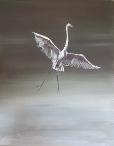 Great Egret painting with mid-tones added