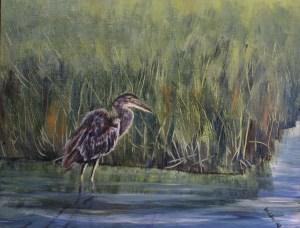 juvenile blue heron in a marsh acrylic painting
