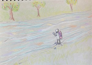pencil drawing of scuba diver with air tank labeled love getting ready to dive