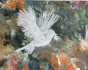 Acrylic pour painting with a white painted chickadee superimposed