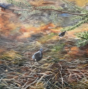 Juncos under the pines in North Michigan acrylic painting.