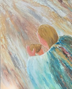 Acrylic painting of an angel carrying a golden bowl in the throne room of God