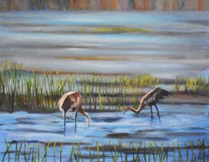 Sandhill Cranes Feeding in the Evening, Oil painting by Yeshuas Child Art
