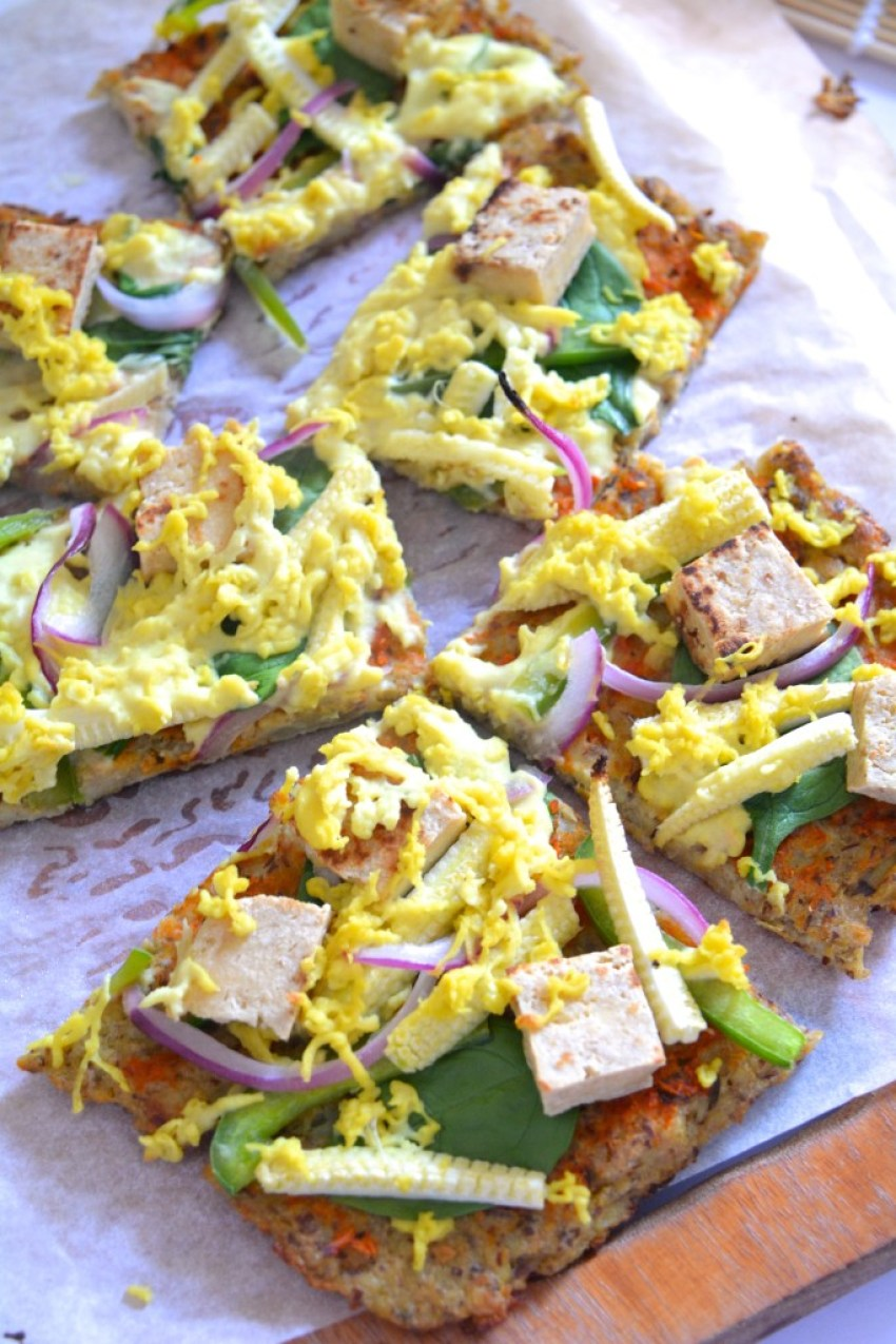 Cauliflower Pizza Crust (v+gf) & Tofu-Baby Corn Pizza