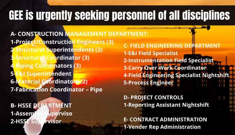 GEE is urgently seeking personnel of all disciplines
