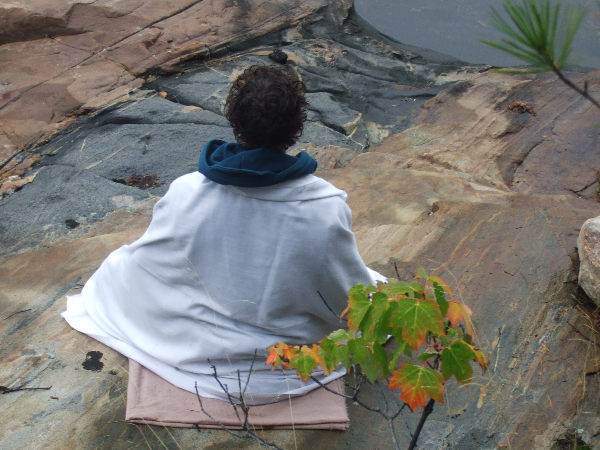 My son meditating at the cottage on Thanksgiving.
