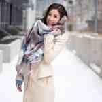 Winter Look Blanket Scarf Long Wool Coat
