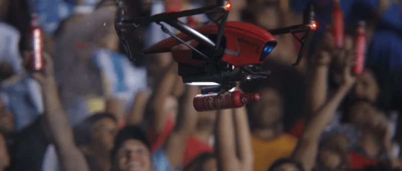 Budweiser ad with drones delivering beer to stadium crowds