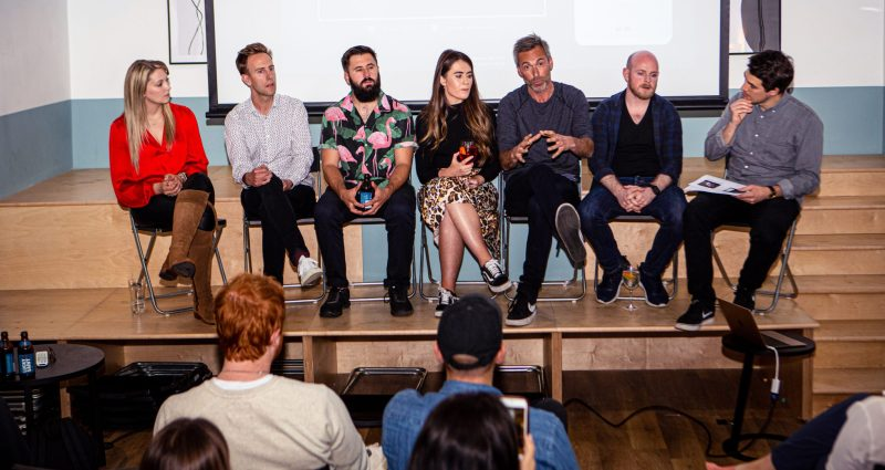 Panelists sharing their views on whether alcohol marketing can improve society's relationship between mental health and alcohol, at YesMore Agency London.
