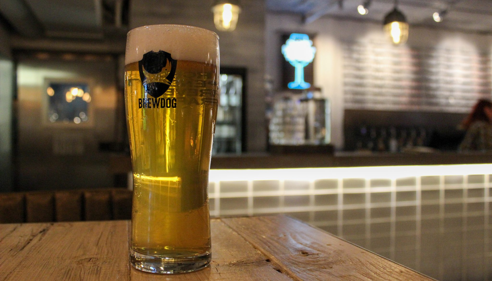 Pint of beer at the BrewDog Alcohol Free bar in Shoreditch, East London