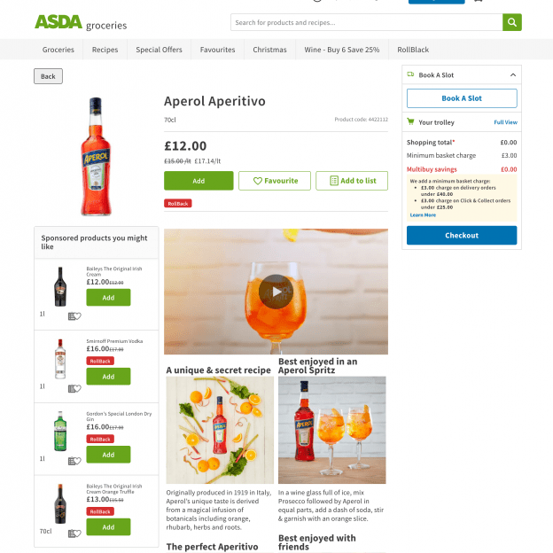 YesMore Off Trade Marketing Agency Aperol Spritz social media content on ASDA website shot by Delightful Media