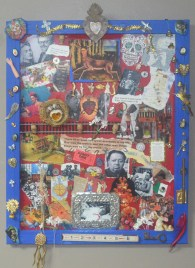 """""""Two Accidents"""" Homage to Frida Kahlo 16"""" x 20"""" Assemblage with found objects"""