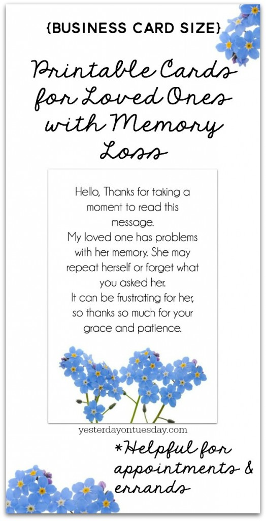 Printable Cards For Loved Ones With Memory Loss