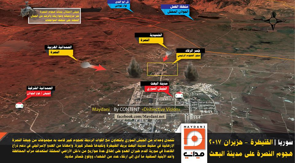 The attack on the Iranian-Hezbollah command center in the town of 'Ibi' in Quneitra province.