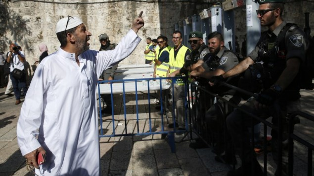 Palestinian officials powwow to protest Temple Mount security moves