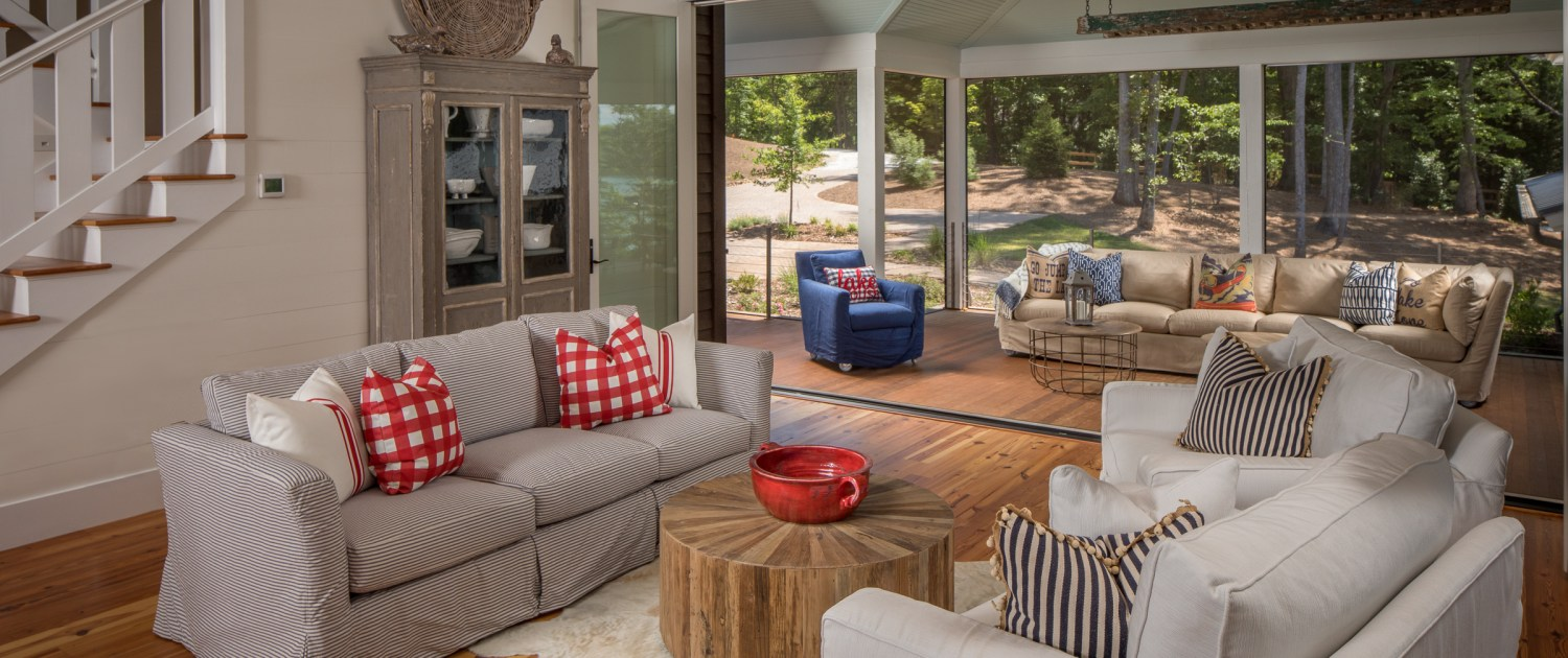 Rustic lake home living room and outdoor furnishings from Yesterday's Tree Furniture in Asheville, NC