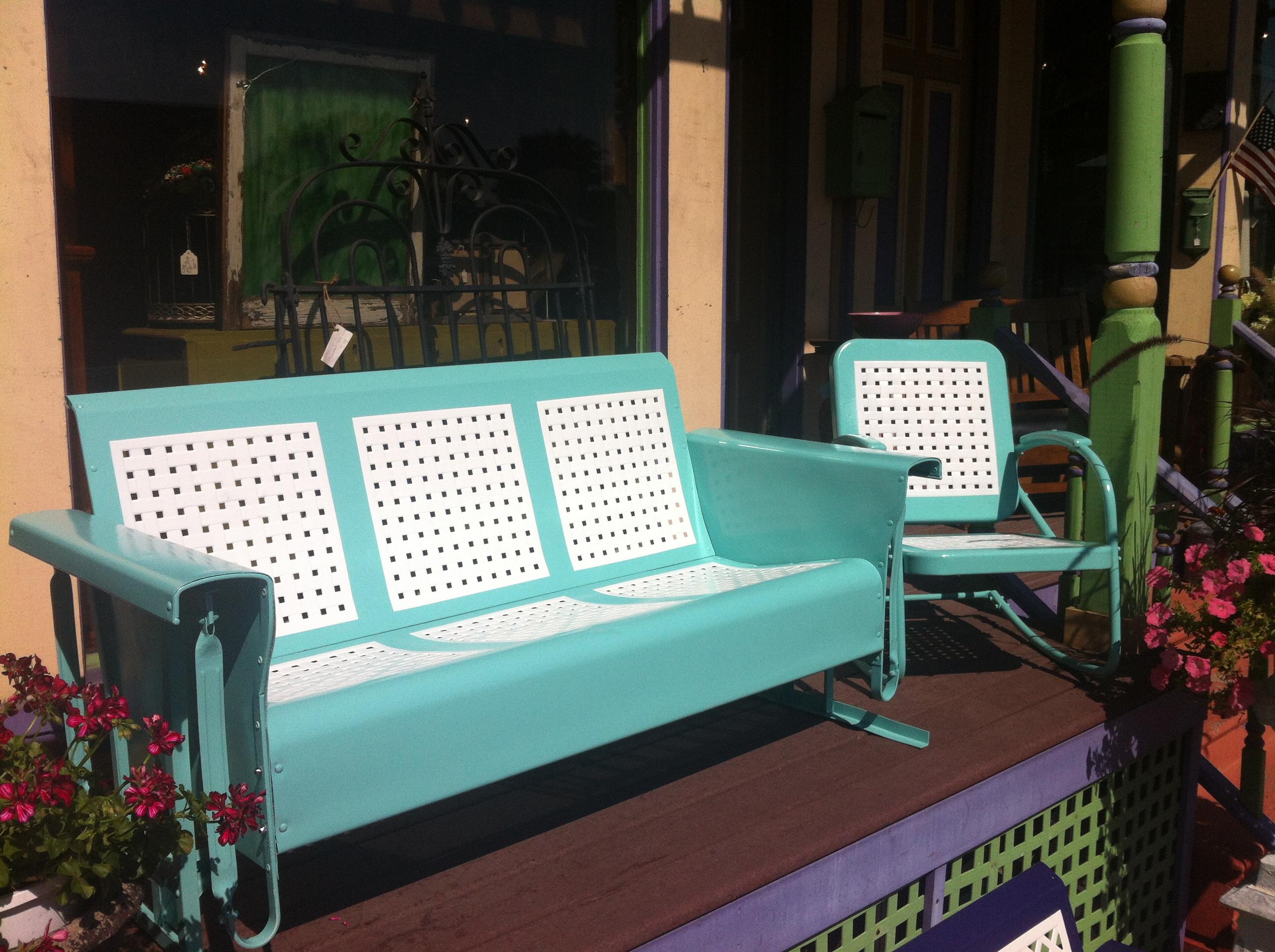 Restored Vintage Glider Amp Chair Basket Weave Cool Blue