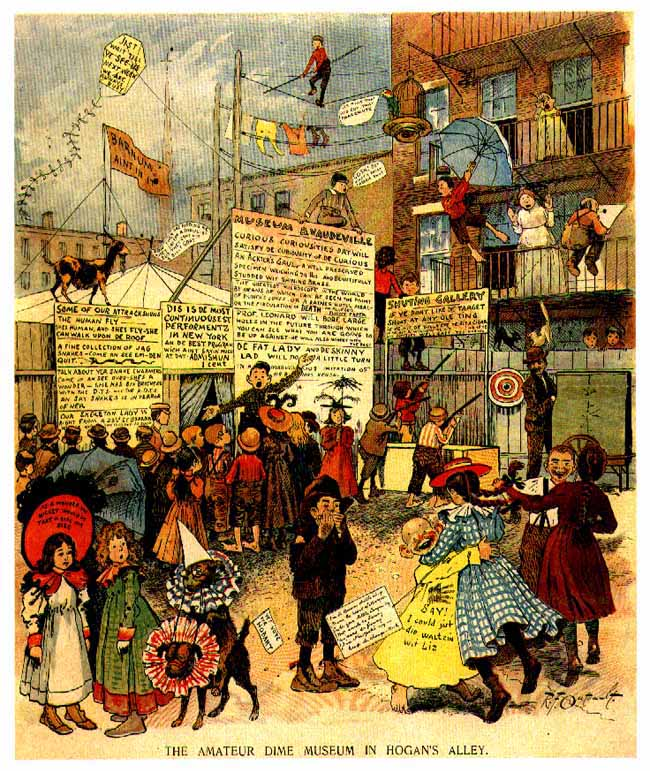 "Richard F. Outcault, ""The Amateur Dime Museum in Hogan's Alley,"" cartoon, New York World 4 Oct. 1896"