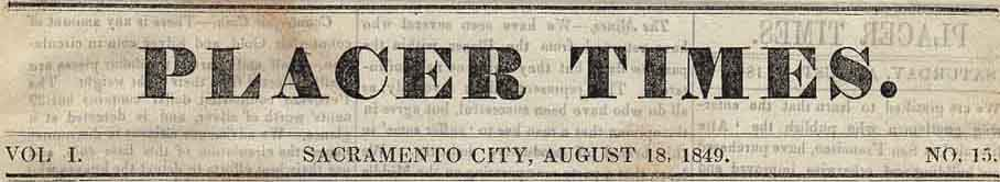 Placer Times August 18, 1849