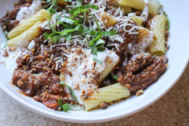 Rigatoni with Spiced Lamb Ragu, Softened Ricotta, & Toasted Walnuts   Yes to Yolks